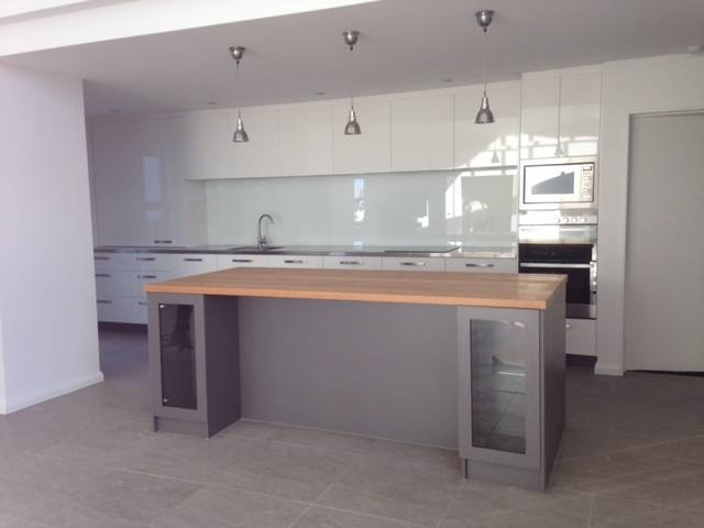 Wooden Island Bench With Stainless Back Benches Macrocarpa Benchtop Kitchen